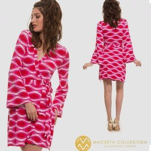 NWT Macbeth Collection Ikat Pink Wrap Dress XS